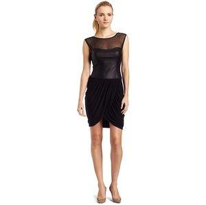BCBGMaxAzria Dresses - BCBG Black Leather and Mesh Contrast Drape Dress